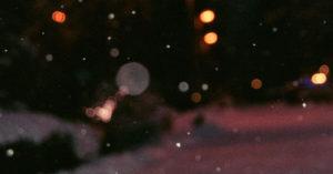 photo shows snow falling on a dark street